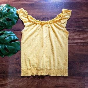 ☀️3/$10☀️ Anthro Little Yellow Button Brand Top